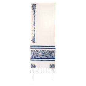 Tallit - Dense Embroidery - Jerusalem - Blue