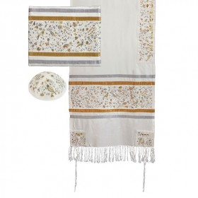 Tallit - Broderie complète - Matriarches - Or & Argent