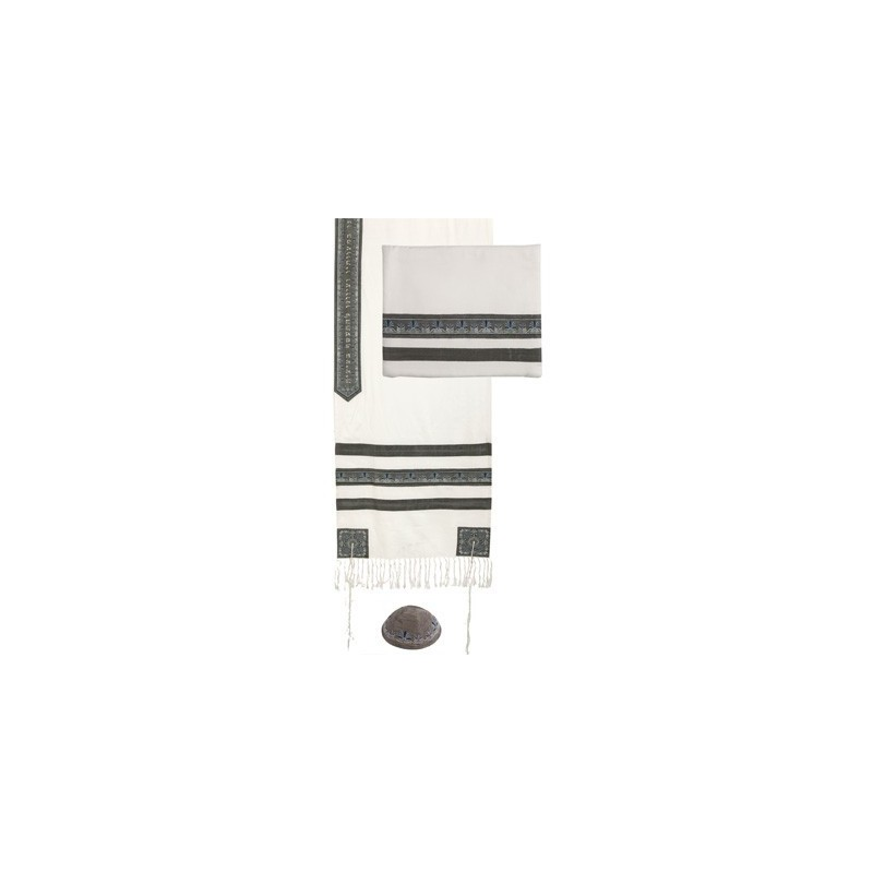 Tallit - Embroidered + Embroidered Stripe - Gray