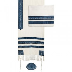 Tallit - Embroidered + Embroidered Stripe - Blue