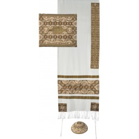 Tallit - Full Embroidery - Symbols - Gold