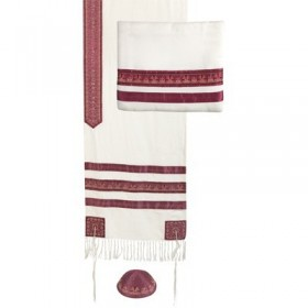 Tallit - Embroidered + Embroidered Stripe - Maroon