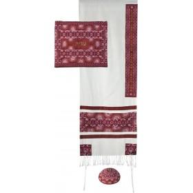 Tallit - Broderie complète - Symboles - Marron