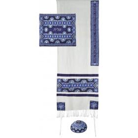 Tallit - Broderie complète - Symboles - Bleu
