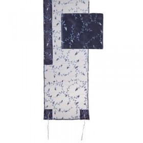 Tallit Organza - Broderie complète - Bleu