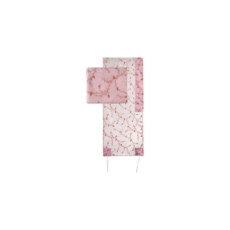 Tallit Organza - Full Embroidery - Pink