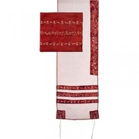 Tallit Organza Embroidered Stripes - Maroon