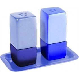Salt & Pepper Shakers + Tray - Metal - Blue