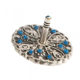 Dreidel - Metal + Stones - Blue