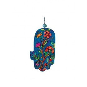 Small Wooden Painted Hamsa - Flowers