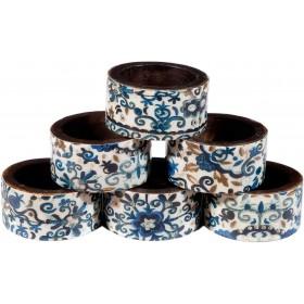 Printed 6 Wooden Napkin Rings - Blue Pomegranates