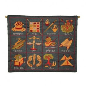 Wall Hanging -  Large 12 Tribes Hebrew -Blue
