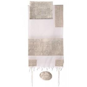 Tallit - Completely Hand Embroidered - Jerusalem - Silver