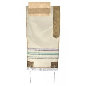 Organza Tallit with Stripes - Gold