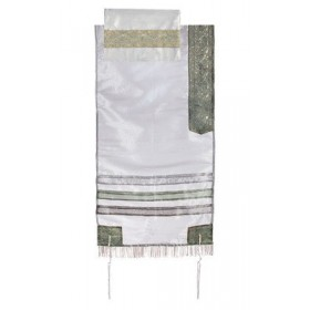 Organza Tallit with Stripes - Gray