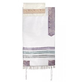 Organza Tallit with Stripes - Multicolor