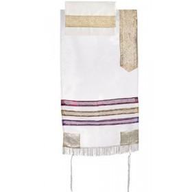 Organza Tallit with Stripes - White + Multicolor