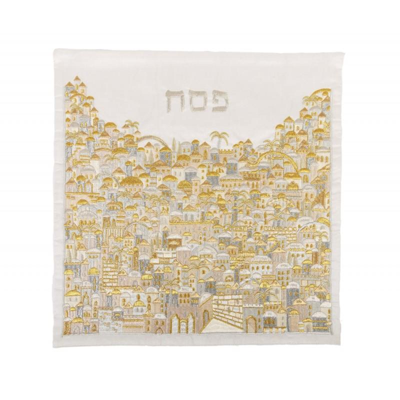 Matzah Cover - Full Embroidery - Jerusalem Silver + Gold
