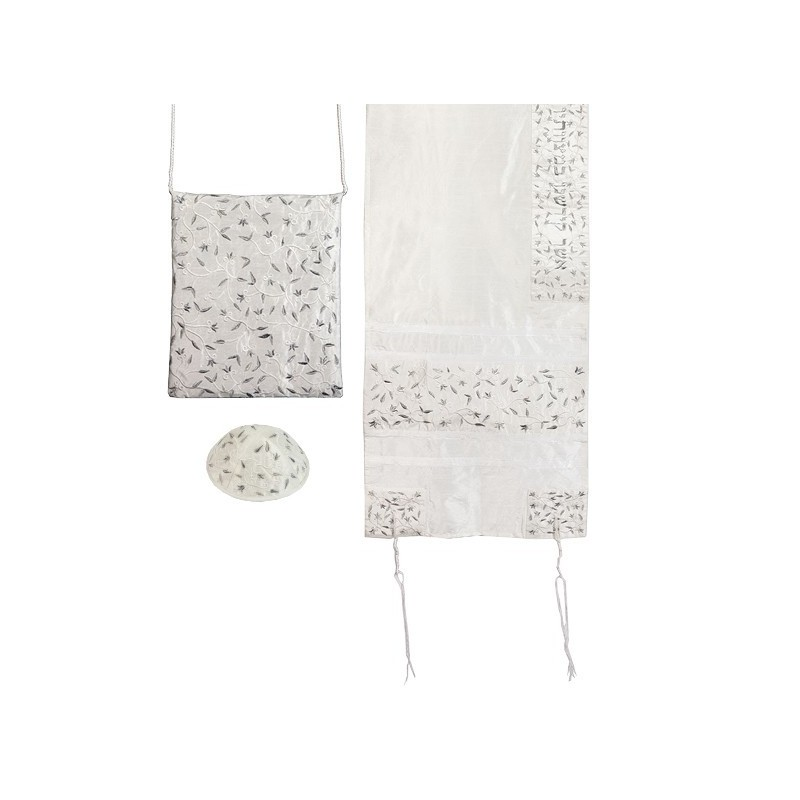 Tallit Set - Machine Embroidery - Flowers - Silver