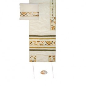 Tallit Set - Machine Embroidery - Star of David - Brown