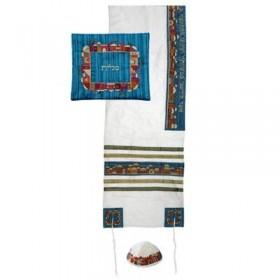 Tallit Set - Machine Embroidery - Jerusalem - White