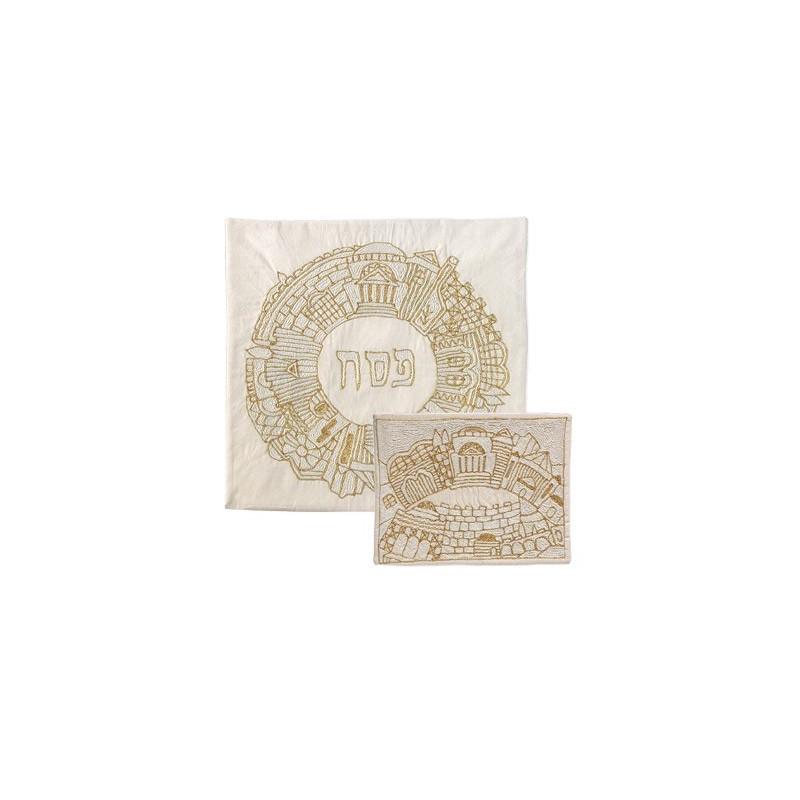 Matzah Cover - Hand Embroidered - Jerusalem Round-Gold