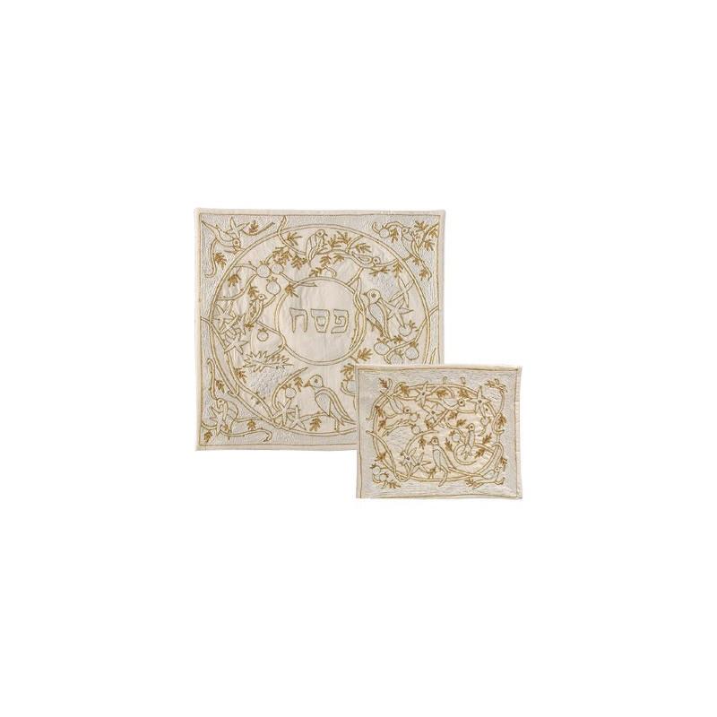 Matzah Cover - Hand Embroidered - Birds Gold