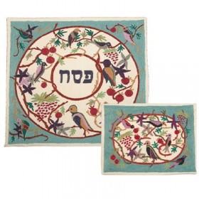 Matzah Cover - Hand Embroidered - Birds Multicolor