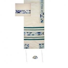 Tallit Set - Machine Embroidery - Star of David - Blue