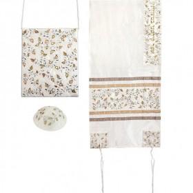 Tallit Set - Machine Embroidery - Pomegranates - Silver - Gold