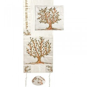 Tallit  - Special Embroidery - Tree of Life - Brown