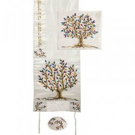 Tallit  - Special Embroidery - Tree of Life - Multicolor