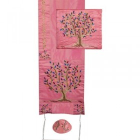 Tallit  - Special Embroidery - Tree of Life - Pink