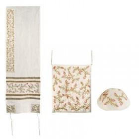 Tallit Set - Machine Embroidery - Pomegranates - Bright