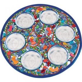 Seder Plate - Aluminium Painted + Six Bowls - Birds