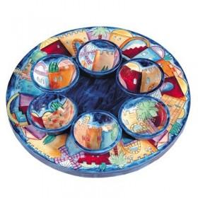 Seder Plate + Six Bowls - Jerusalem