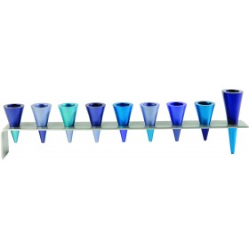 Hanukkah Menorah - Metal Strip + Cone - Blue