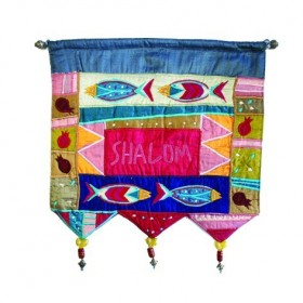Wall Hanging - Shalom in English - Fish - Multicolor