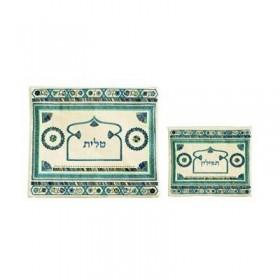 Tallit Bag - Embroidery - Linen - Blue