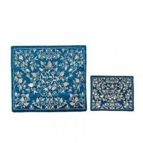 Tallit Bag - Machine Embroidery - Full Pomegranate Blue