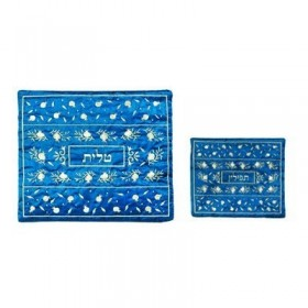Tallit Bag - Machine Embroidery - Pomegranate Blue + Silver