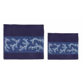 Tallit Bag - 2 Materials + Embroidery - Pomegranates - Blue Stripe