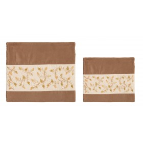 Tallit Bag - 2 Materials + Embroidery - Pomegranates - Gold Stripe