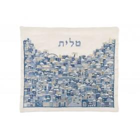 Tallit Bag - Full Embroidery - Jerusalem Blue