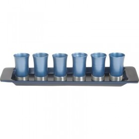 Set of 6 Small Cups + Tray - Blue