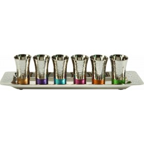 Set of 6 Small Cups + Tray - Nickel - Hammer Work - Multicolor