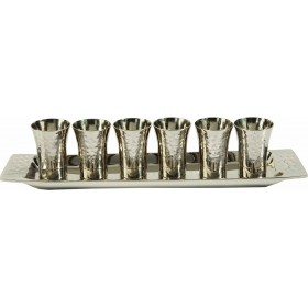 Set of 6 Small Cups + Tray - Nickel - Hammer Work