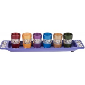 Set of 6 Small Cups + Tray - Silver Lace - Multicolor