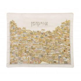 Afikoman Cover - Full Embroidery - Jerusalem Silver + Gold