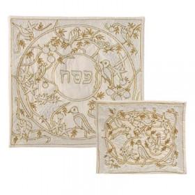 Afikoman Cover - Hand Embroidered - Birds Gold